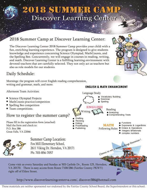 The Discover Learning Center 2018 Summer Camp Provides Your Child With A Fun Enriching Experience This Program Is Designed To Give